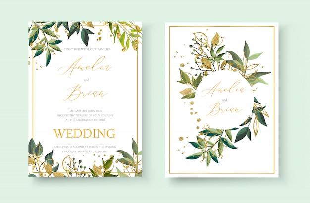 Envelop van de de uitnodigingskaart van de huwelijks bloeit de bloemen gouden bewaart het ontwerp van het datumminimalisme met groene tropische bladkruiden en goud ploetert. botanische elegante decoratieve vector sjabloon aquarel stijl Gratis Vector