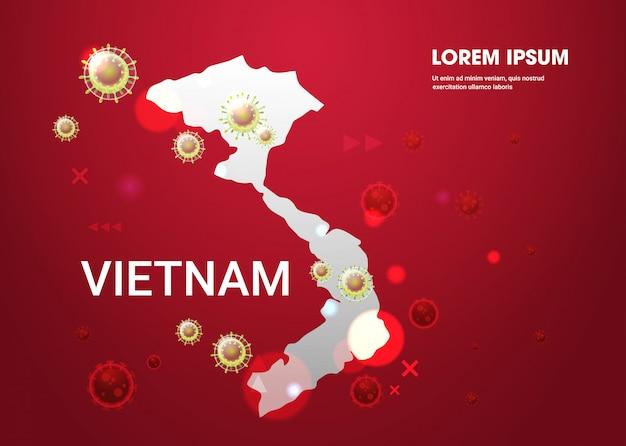 Epidemie griep verspreiding van de wereld drijvende griepviruscellen wuhan coronavirus pandemie medisch gezondheidsrisico vietnam kaart horizontaal Premium Vector