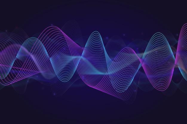 Eq equalizer golven achtergrond met glanzende deeltjes Gratis Vector