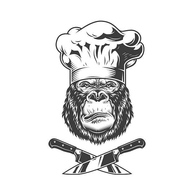 Ernstig gorillahoofd in chef-kokhoed Gratis Vector