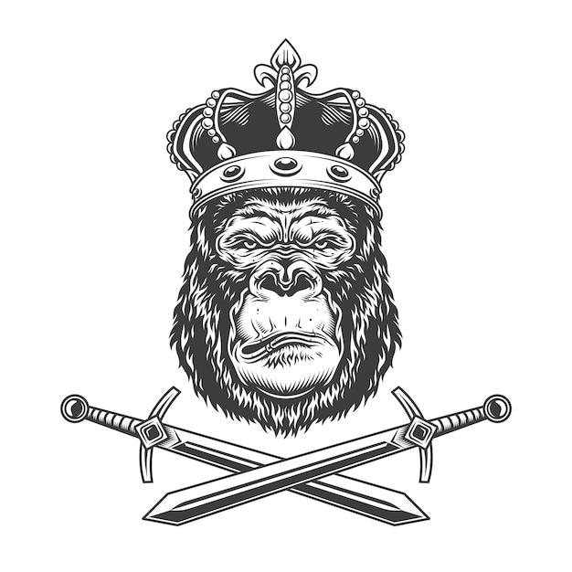 Ernstig gorillahoofd in koninklijke kroon Gratis Vector