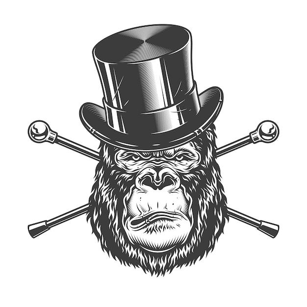 Ernstige gorilla hoofd in cilinderhoed Gratis Vector