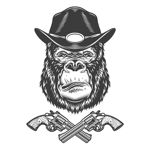 Ernstige gorilla hoofd in sheriff hoed Gratis Vector