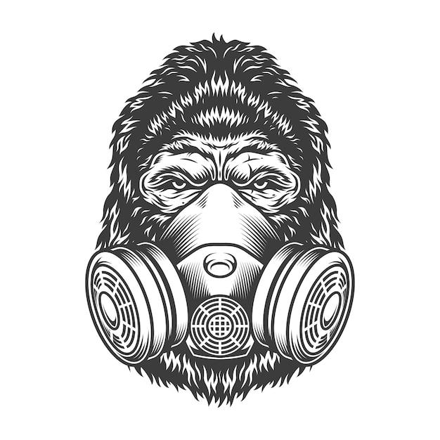 Ernstige gorilla in zwart-wit stijl Gratis Vector