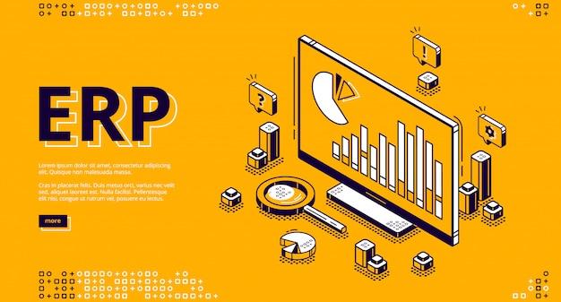 Erp enterprise resource planning isometrische banner Gratis Vector