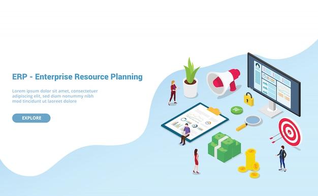 Erp enterprise resource planning met teammensen en activabedrijf Premium Vector