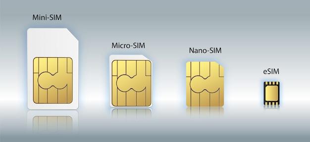 Esim embedded sim-kaart pictogram symbool concept. nieuwe chip mobiele cellulaire communicatietechnologie. sim-kaarten instellen voor mobiele apparaten met chip. illustratie Premium Vector