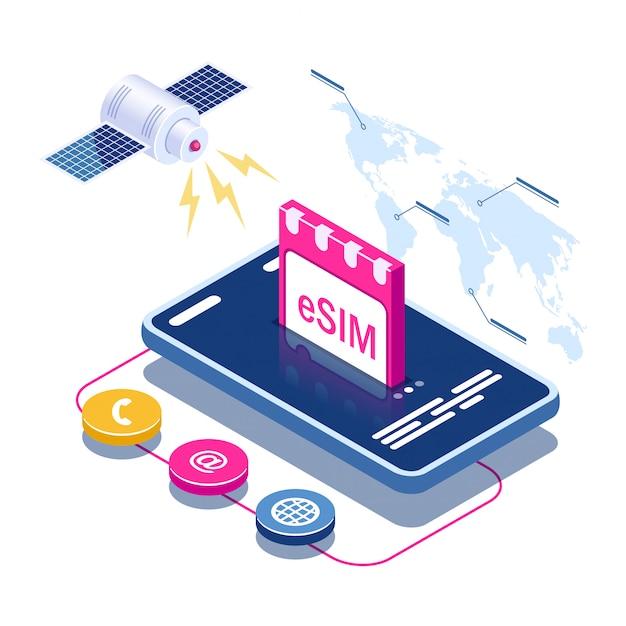 Esim kaartchip teken. ingebed sim-concept. satelliet op wereldkaart achtergrond Premium Vector