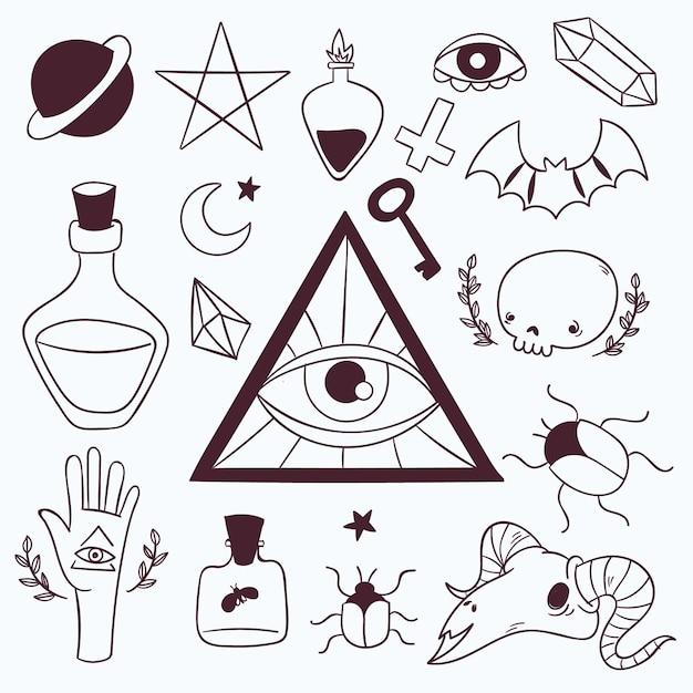 Esoterische elementen collectie Gratis Vector
