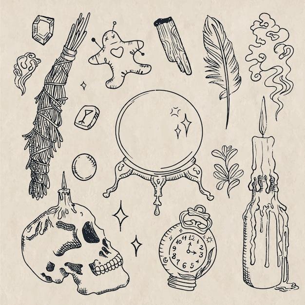 Esoterische schets elementen Gratis Vector