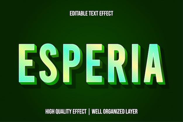 Esperia green moderne teksteffectstijl Premium Vector