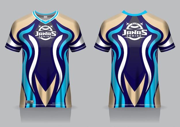 Esport gaming t-shirt jersey sjabloon, uniform, voor- en achteraanzicht Premium Vector