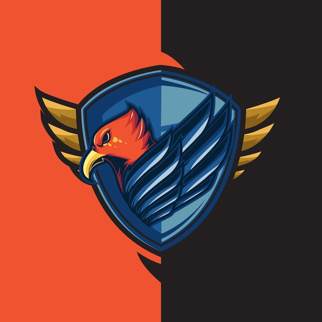 Esport-gaminglogo met het thema van de blauwvleugelige rode adelaar. met schildverdediging Premium Vector