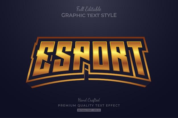 Esport golden bewerkbare tekststijl effect premium Premium Vector