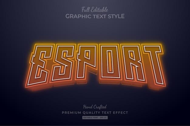 Esport orange neon bewerkbaar teksteffect Premium Vector