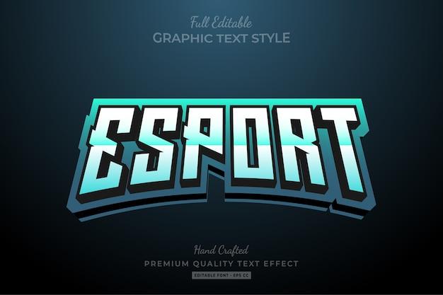 Esport team gradient bewerkbaar premium teksteffect Premium Vector