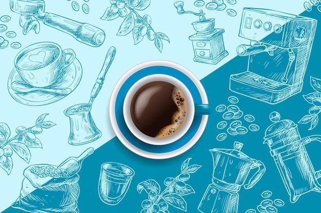Espresso koffiekopje op blauwe hand getrokken achtergrond Gratis Vector