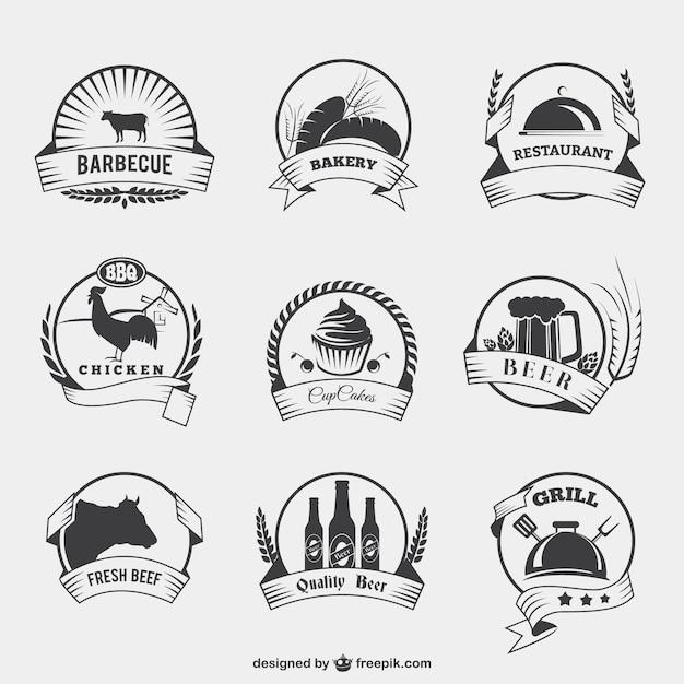 Eten badges in retro stijl Gratis Vector