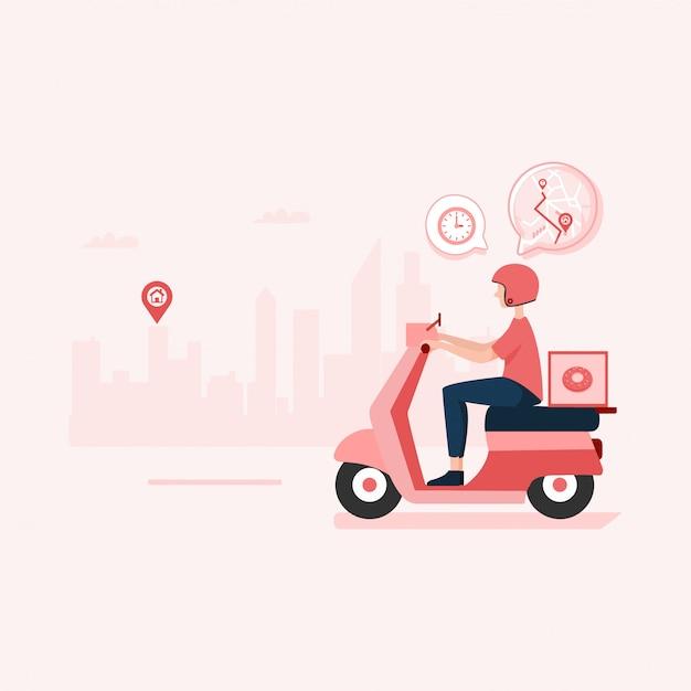 Eten bestellen, snelle levering illustratie Premium Vector