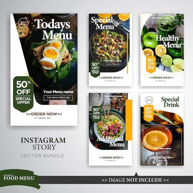 Eten & culinaire instagram verhalen promotie sjabloon Premium Vector