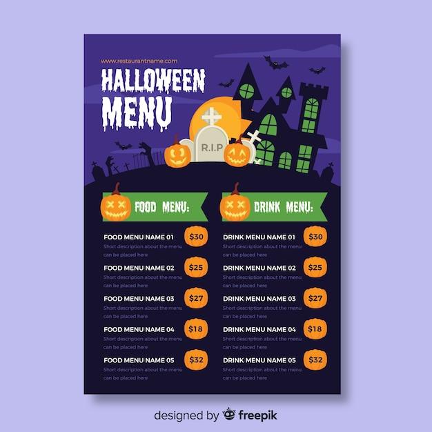 Eten en drinken halloween menusjabloon Gratis Vector