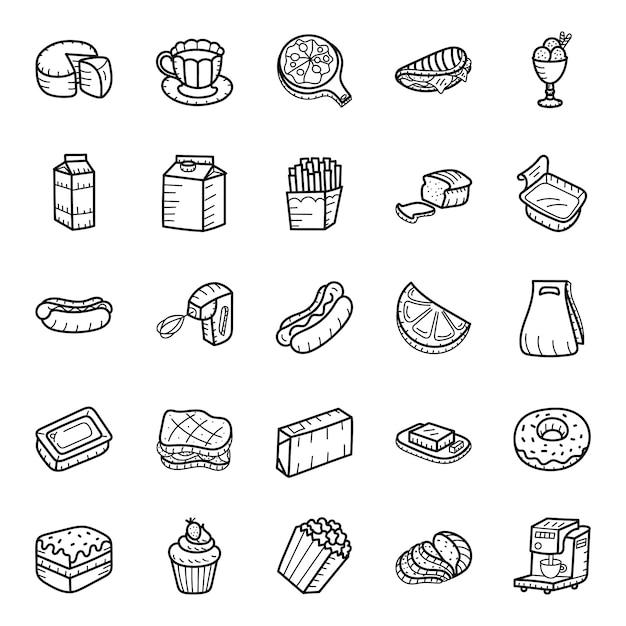 Eten en drinken hand getrokken pictogrammen pack Premium Vector