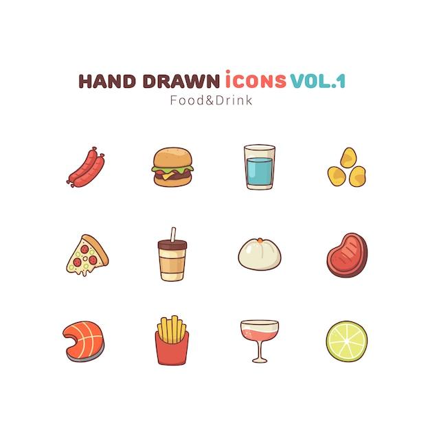 Eten en drinken hand getrokken pictogrammen Premium Vector