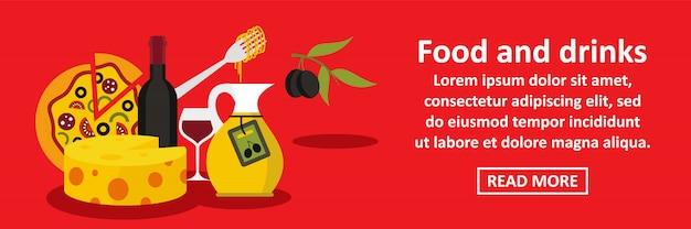 Eten en drinken italië banner horizontaal concept Premium Vector