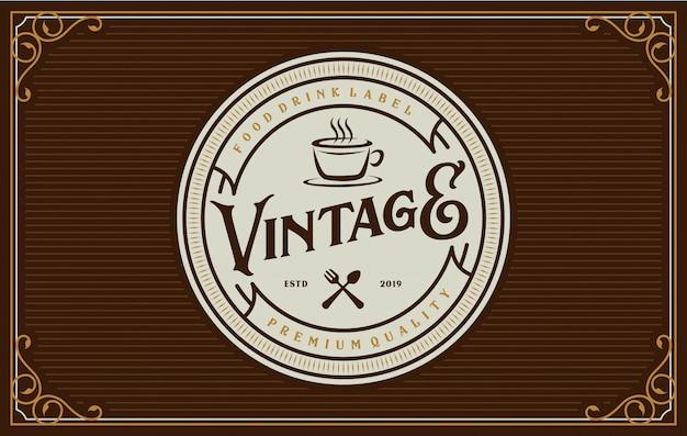 Eten en drinken logo-ontwerp voor merklabel Premium Vector