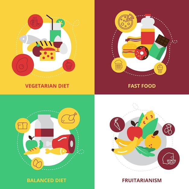 Eten en drinken ontwerpconcept pictogrammen instellen Gratis Vector