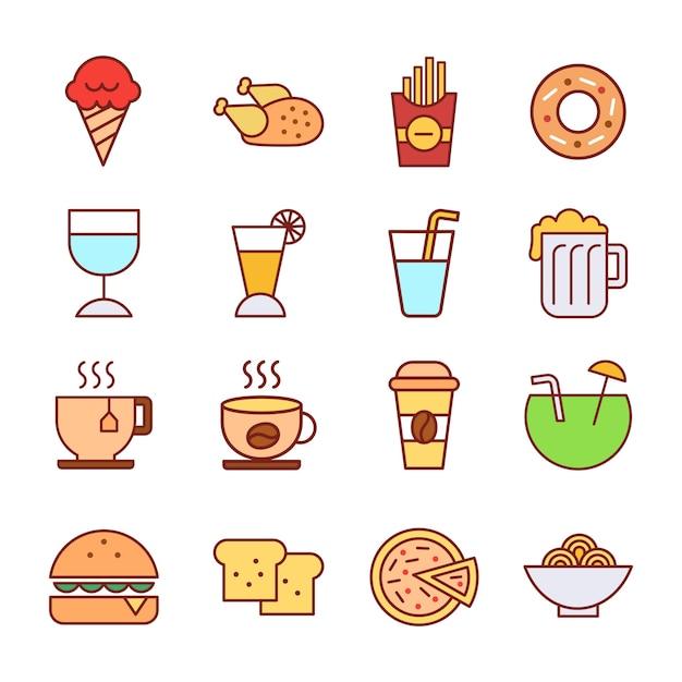 eten en drinken pictogrammen instellen tekenen eenvoudig