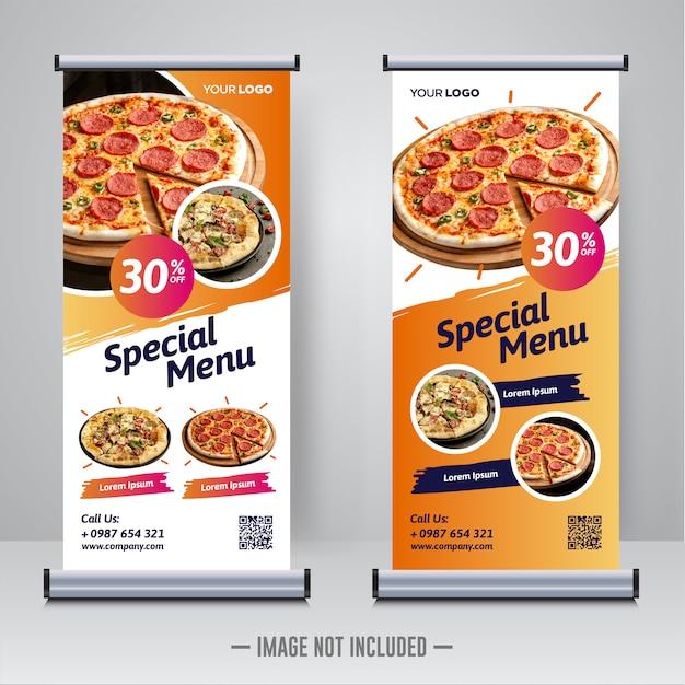 Eten en restaurant oprollen banner ontwerpsjabloon Premium Vector