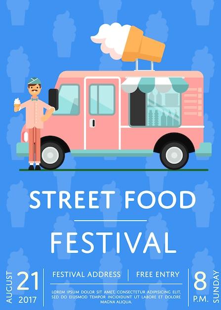 Eten festival uitnodiging poster met ijs vrachtwagen Premium Vector