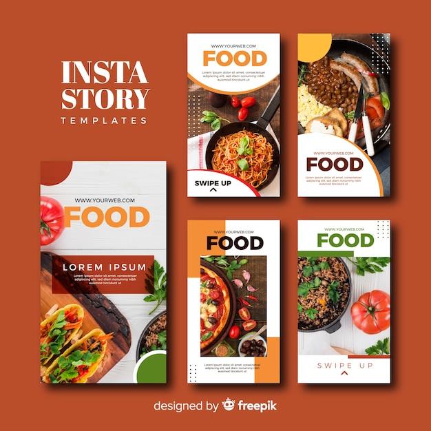 Eten instagram verhalen sjabloonverzameling Gratis Vector