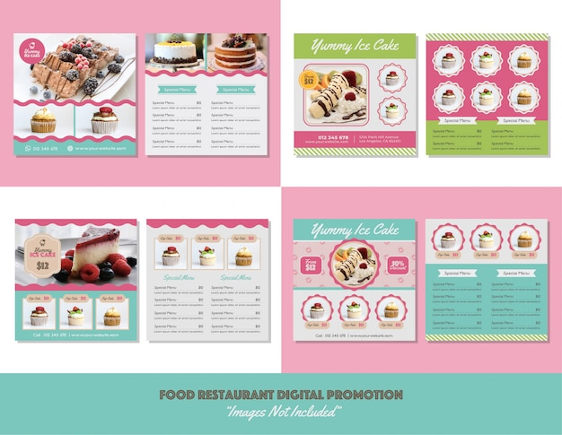 Eten menu restaurant digitale promotie Premium Vector