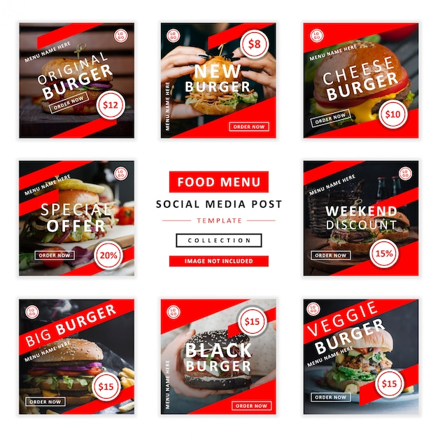 Eten menu sociale media post sjabloon collectie Premium Vector