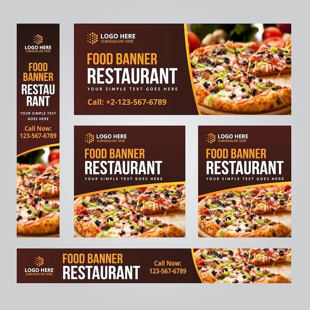 Eten restaurant business web banner set vector sjablonen Premium Vector