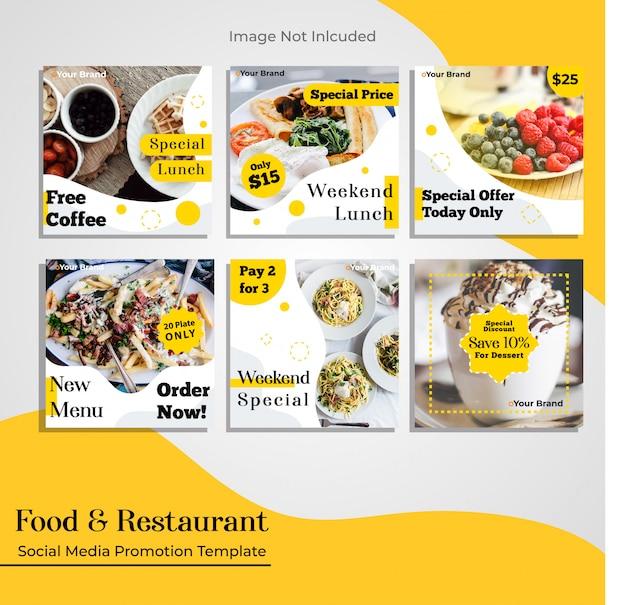 Eten restaurant social media promotie sjabloon Premium Vector