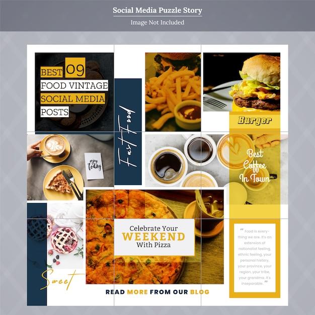 Eten social media puzzel verhaalsjabloon Premium Vector