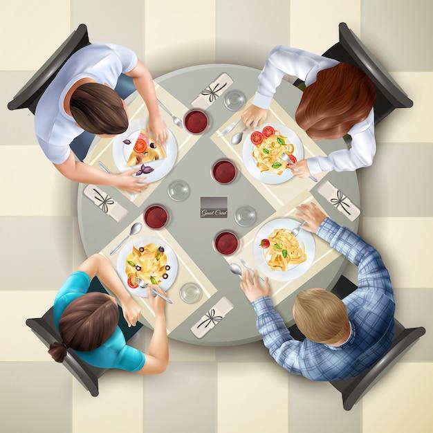 Eten tekens bovenaanzicht illustratie Gratis Vector