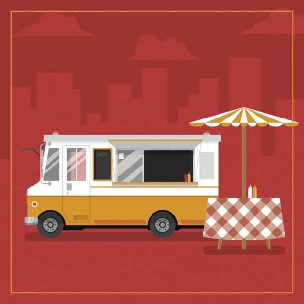 Eten truck achtergrond ontwerp Gratis Vector