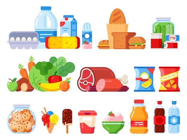 Etenswaren. verpakt kookproduct, supermarktartikelen en ingeblikt voedsel. koekjestrommel, slagroom en eieren pakken vlakke pictogrammen in Premium Vector