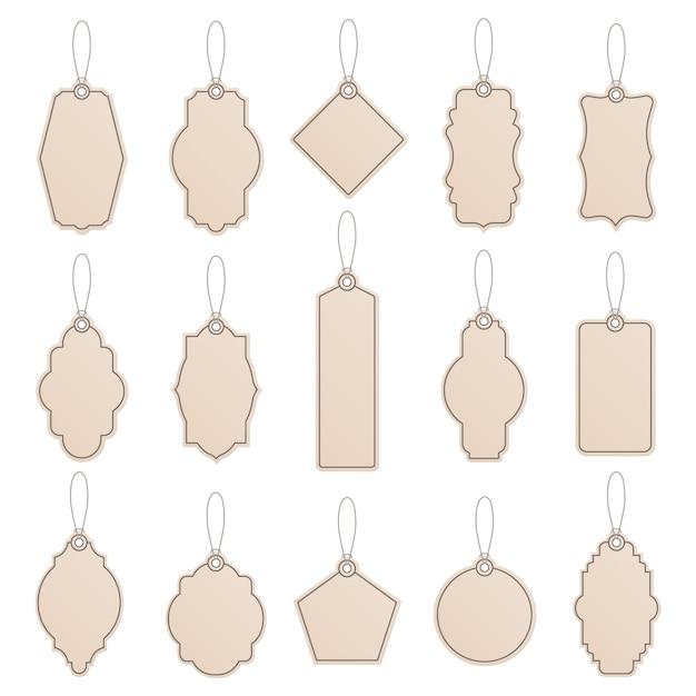 Etiketsjabloon. vintage papieren labeletiketten, ambachtelijke prijskaartjes, ambachtelijke labelsjablonen, promotieproductiesjablonen pictogramserie. illustratie hang tag voor prijs realistisch met touw Premium Vector