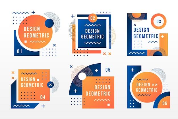 Etiketten in geometrische stijl Gratis Vector