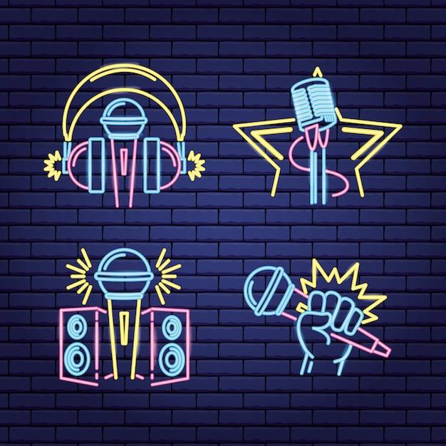 Etiketten met neon-karaoke-labels Gratis Vector