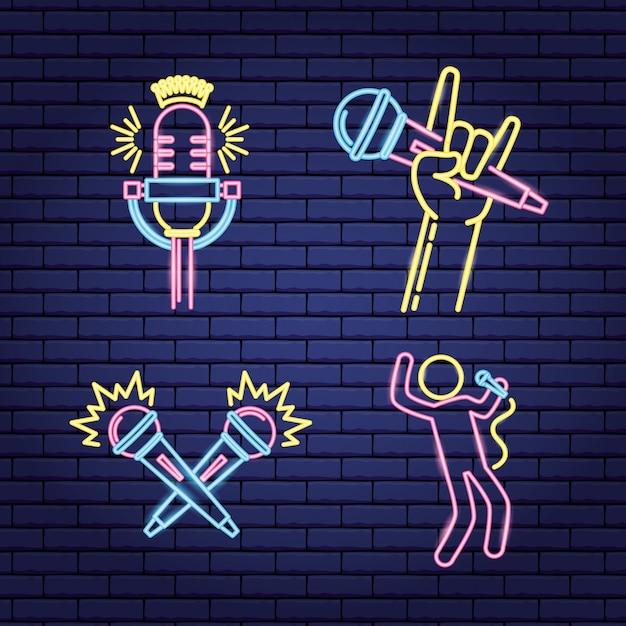 Etiketten van neonstijl in karaoke Gratis Vector