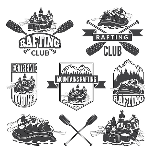 Etiketten voor sportclub van extreem gevaarlijke watersport. Premium Vector