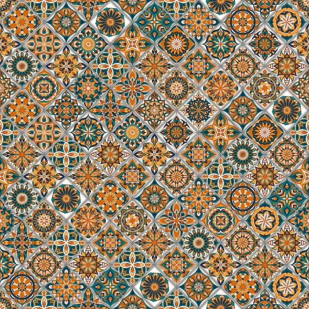 Etnisch bloemen naadloos patroon met uitstekende mandala-elementen. Premium Vector