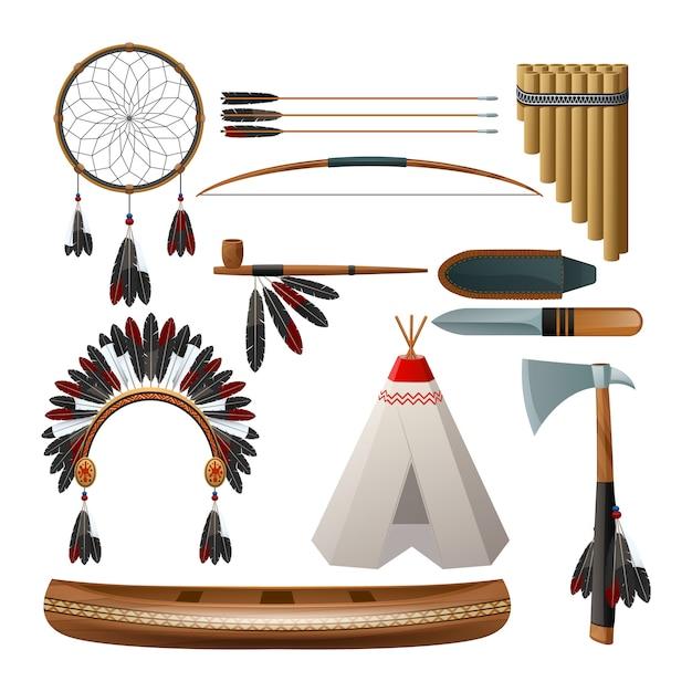Etnische amerikaanse inheemse stamcultuur decoratieve set Gratis Vector