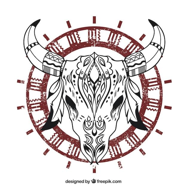Etnische dierlijke schedel Gratis Vector